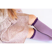 Little Stocking Co. Lace Top Knee High Socks: Purple + Plum