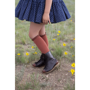 Little Stocking Co. Lace Top Knee High Socks: Rust