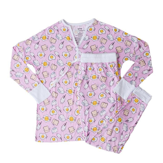 Little Sleepies Women's Pajama Top: Pink Breakfast Buddies