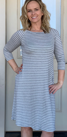 Sammy Dress-Grey Stripe