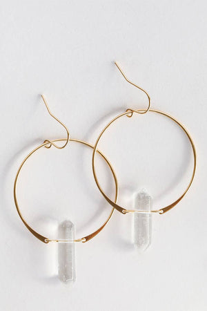 "Look stunning in these Clear Quartz Hoop Earrings.  These are double pointed crystal earrings handcrafted out of 18kt gold over sterling silver.  Each hoop measures 1.5"" diameter and each polished gemstone is roughly 1"" x 0.25"" wide. Clear Quartz is a high vibrational stone, known as the ultimate healing crystal with its ability to amplify energy and attune to your higher self. Use Clear Quartz to help strengthen and motivate the wearer's aura."