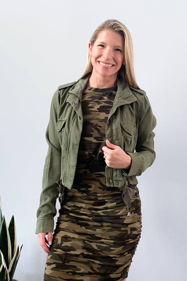 Elan Tie Front Cropped Utility Jacket for Women in Olive