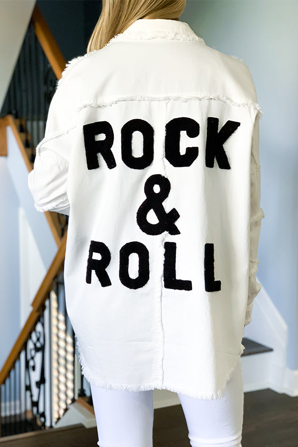 Show off your rocker style with our Rock And Roll Jacket by Elan in White!  This button up military style jacket features raw edges and hemline, snap button closure, and drop shoulder seam.  We love the relaxed fit of this lightweight jacket.  Perfect for any season!  Wear open as a layering piece or closed.
