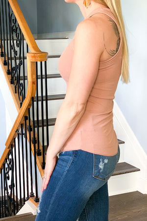 We've got the perfect layering tank for you! The Ginger Ribbed Racerback Tank is perfect for dressing up or wearing casual. This stretch rib knit tank features a round crewneck and round hem. Perfect for pairing with shorts and a kimono for a spring to summer outfit. Wishlist Racerback Tank