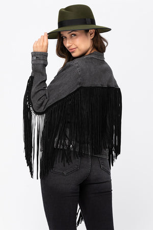 OMG!! This might be our favorite jacket this season!  Our Judy Blue Fringe Jean Jacket features a faded black denim base, long black fringe along the sleeves and back, button closure, and front pockets.  This super comfy jacket is stretchy and perfect for pairing with your favorite skinny jeans or flares!