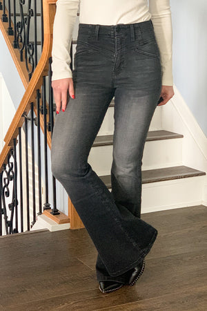 We're always on the hunt for amazing flares and these Black Ultra High Rise Flare Jeans by KanCan are just that! These flare jeans feature a high rise fit, a yoke front detail, and made with the softest black denim.  Perfect for pairing with your favorite boots and our henley bodysuits.