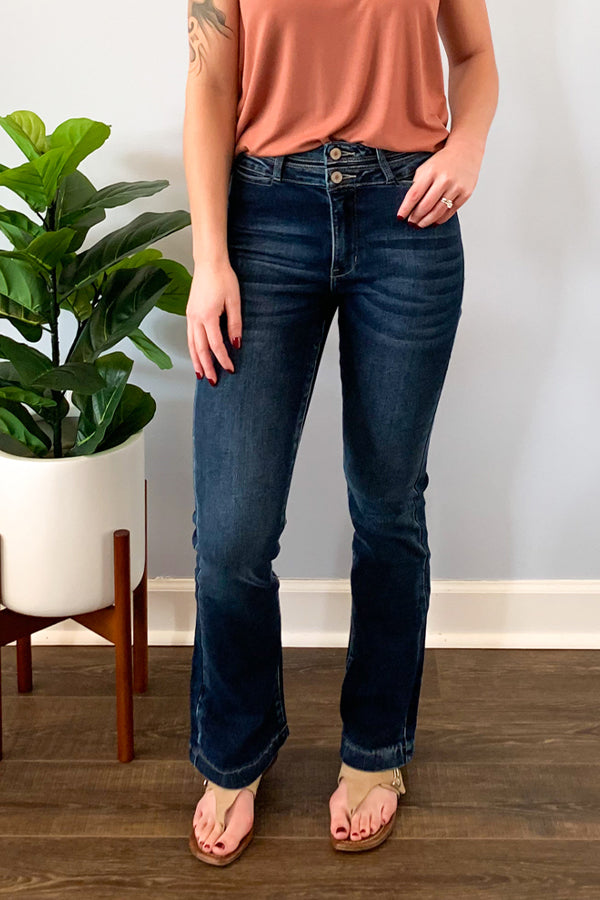 It's all about the subtle details with these KanCan High Rise Waist Band Detail Flare.  These dark wash flares features cute waist band detail, double button closure, hidden front pockets, and the cutest back pockets! These jeans are true to size.