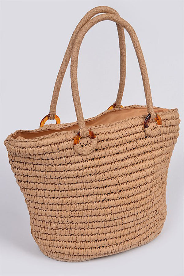 Your beach getaway is calling with our Khaki Straw Like Basket Tote Bag. This beach ready tote features a straw like outer material and is fully lined.  Zipper closure to keep your personal items safe along with a small inner pocket with zip closure.  Whether you're grabbing lunch or hanging out at the beach, this summer tote is a must-have!