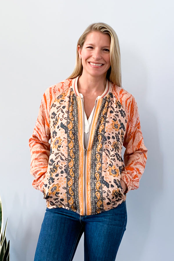 Need a lightweight chic jacket this season? The Boho Mixed Print Bomber Jacket is a must-have!  This multi color bomber jacket features a fun boho pattern, zipper closure, and side pockets.  This jacket is perfect for pairing with a cami and jeans for a cute, casual outfit.