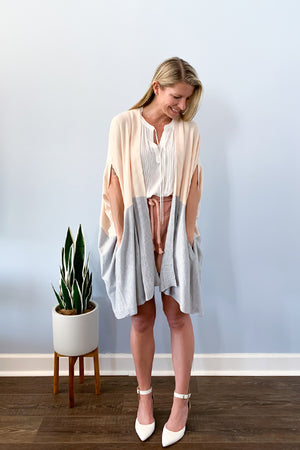 Colorblock Cardigan In Blush And Grey