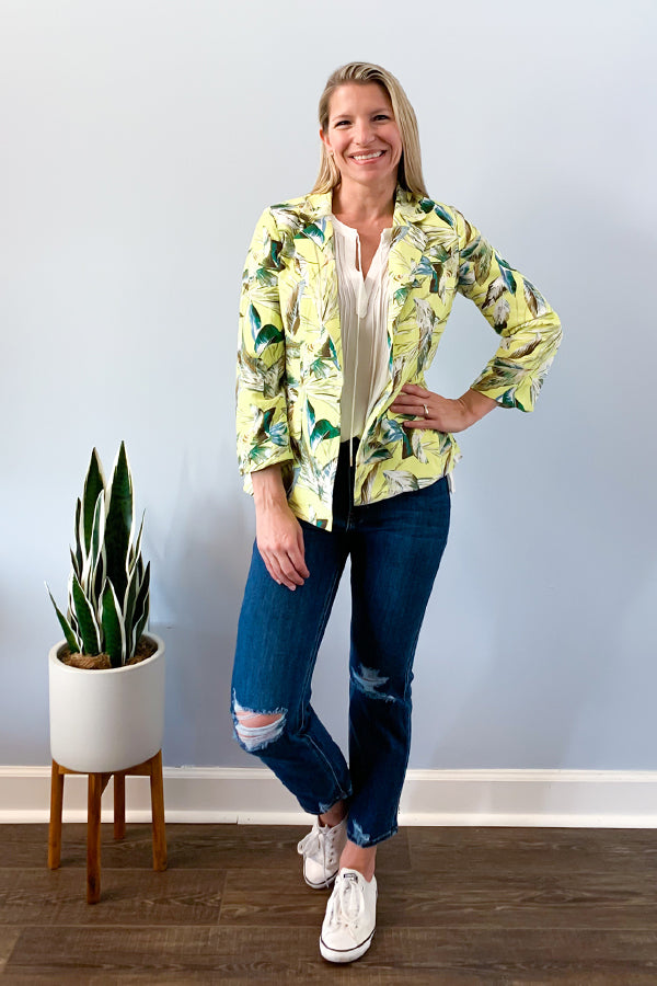 Life is about having fun! Add some fun to your blazer with our Tropical Print Blazer.  This lime yellow tropical print blazer features a slightly bell-shaped sleeve, notched lapels, and flap pockets. Look cute for your next zoom meeting and pair with white sleeveless blouse.  Complete the look with a distressed denim and converse for a casual outfit.