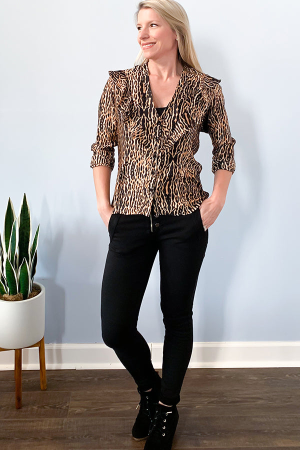 Veronica M Animal Print Long Sleeve Ruffle Blouse.  Veronica M Marina.  Veronica M blouse.  Veronica M Top.
