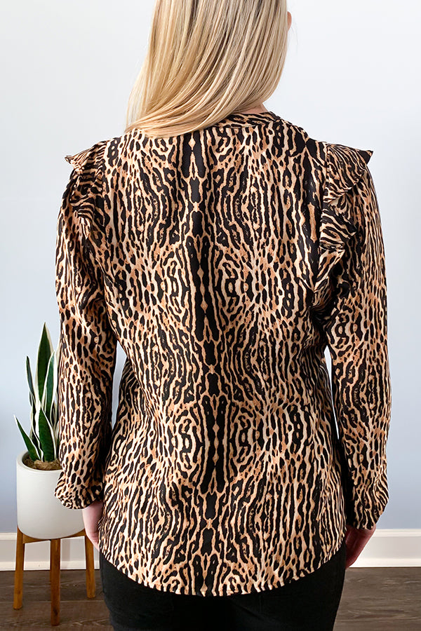 Veronica M Animal Print Long Sleeve Ruffle Blouse