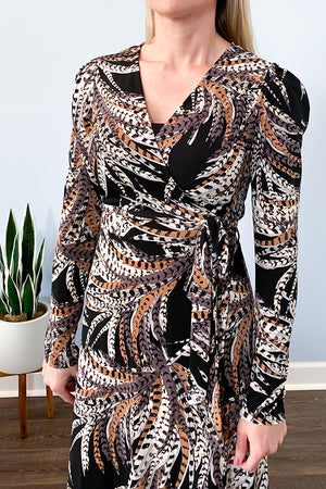 Veronica M Dresses. Veronica M Feather Print Long Sleeve Wrap Maxi Dress Veronica M Clothing