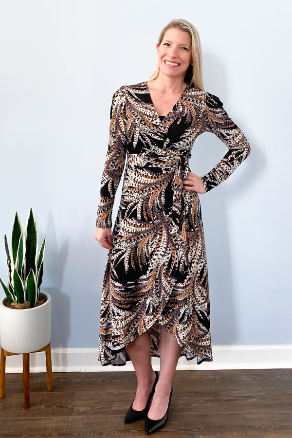 Veronica M Dresses. Veronica M Feather Print Long Sleeve Wrap Maxi Dress