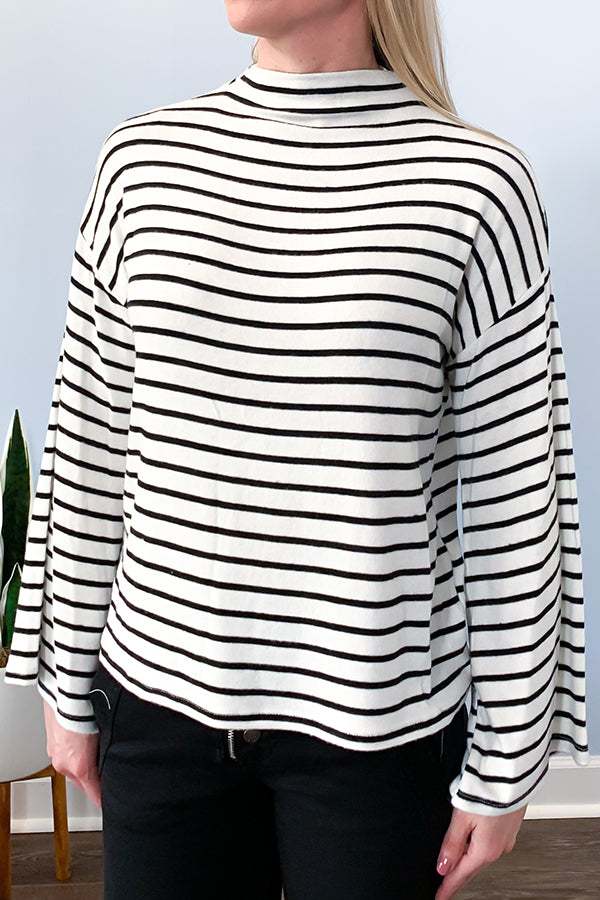Veronica M Striped Bell Sleeve Mock Neck Sweater