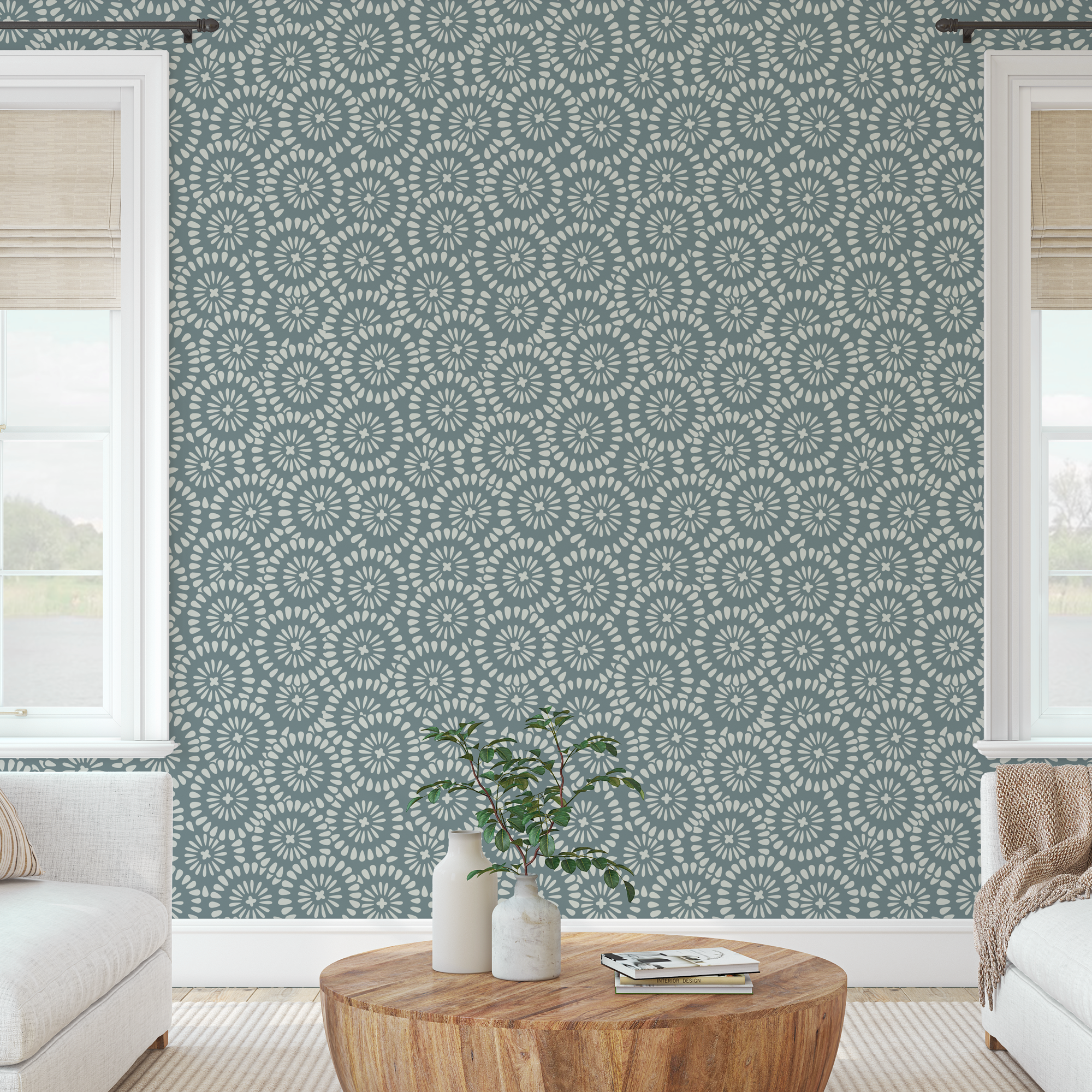 The finished repeat wall pattern in a living room.