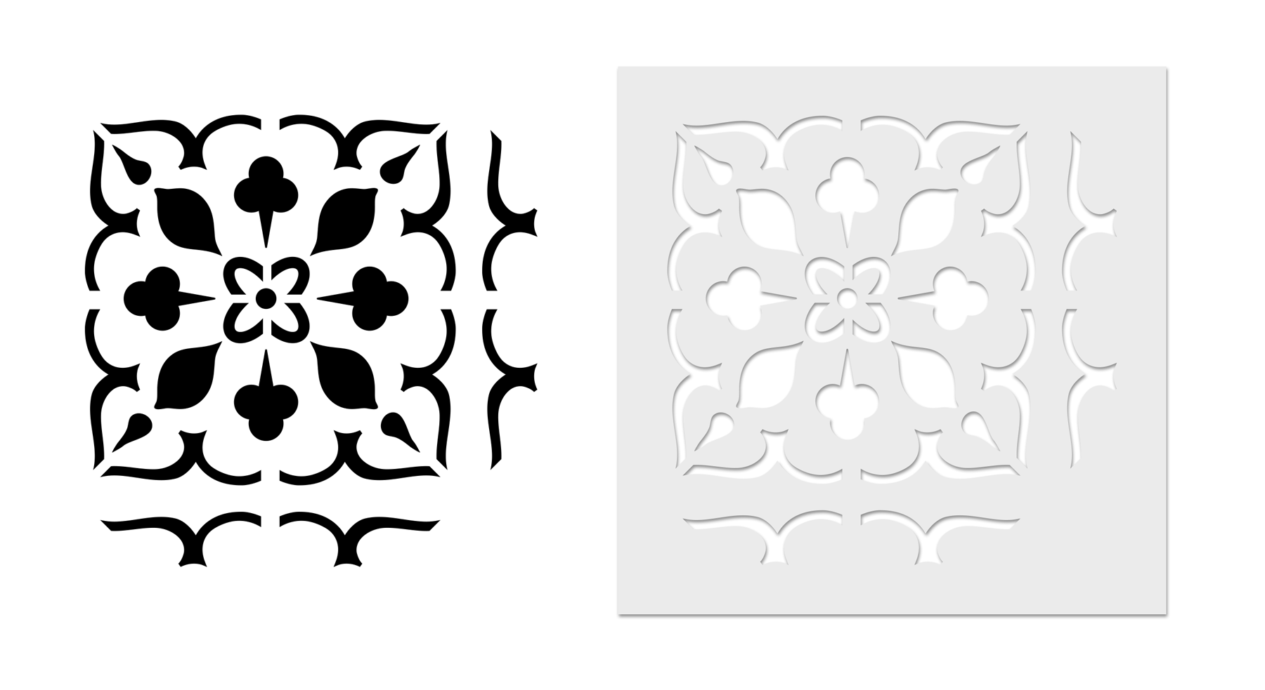 Image showing the finished tile graphic beside the actual tile stencil for comparison
