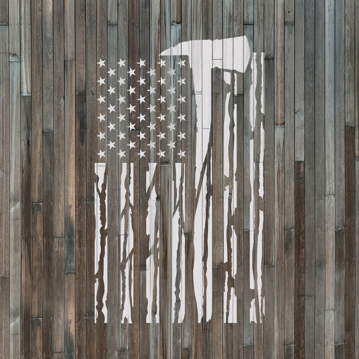 American Flag Firefighter Stencil