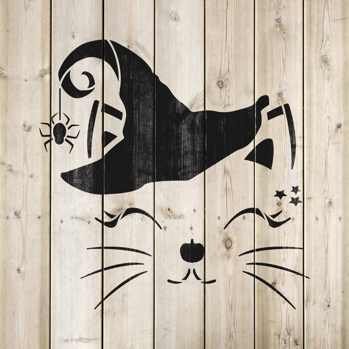 Cat Witch Face Stencil