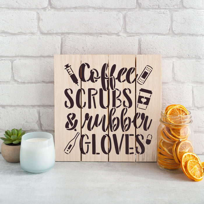 Coffee Scrubs Rubber Gloves Nurse Stencil