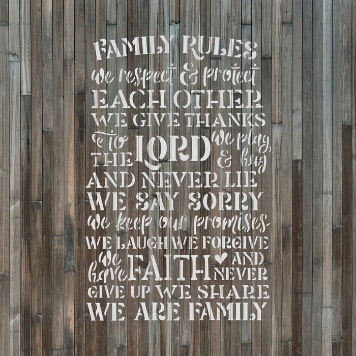 Family Rules Lord Faith Sign Stencil