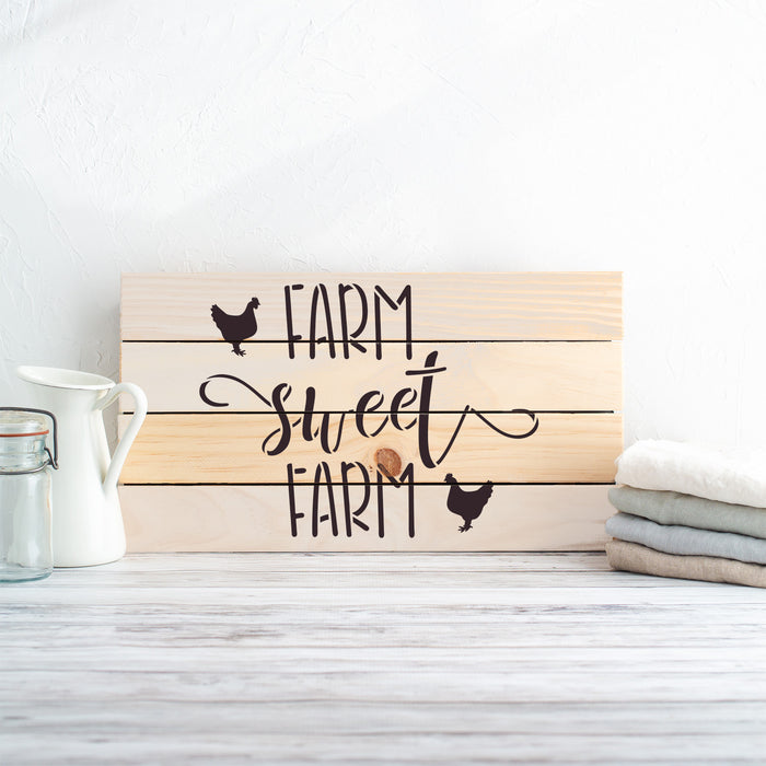 Farm Sweet Farm Farmhouse Chicken Sign Stencil