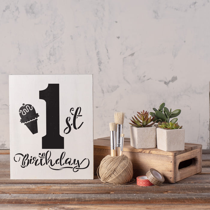 First Birthday Stencil