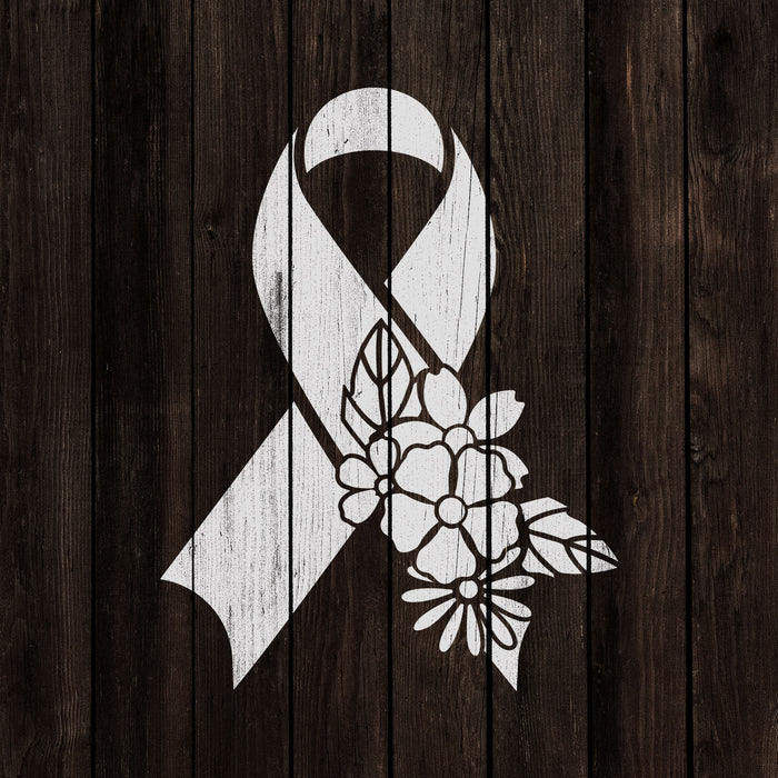 Floral Breast Cancer Ribbon Stencil