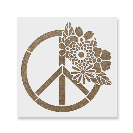 Floral Peace Sign Stencil