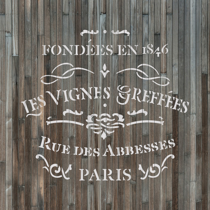 French Label Les Vignes Greffes Stencil