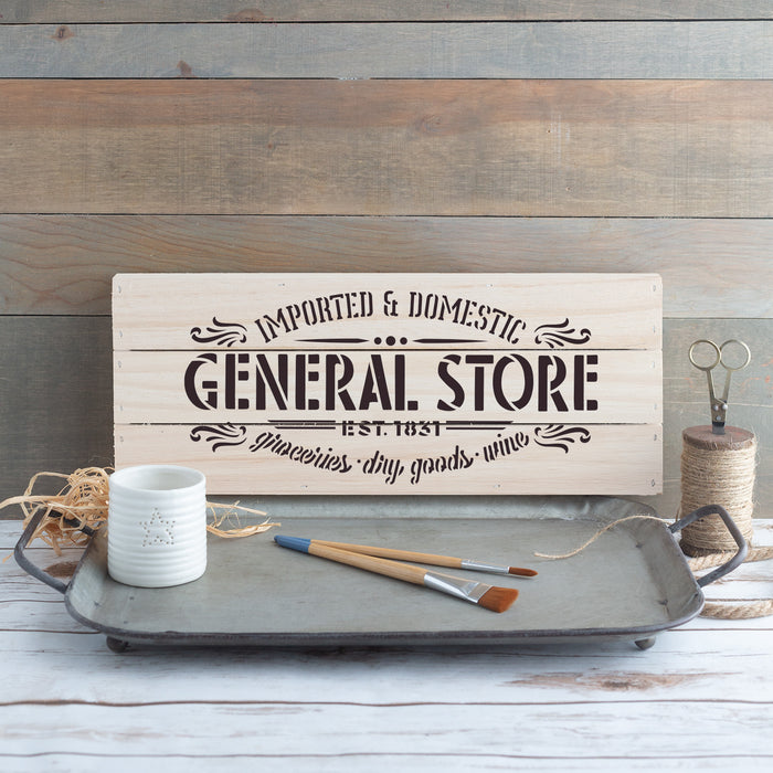 General Store Groceries Goods Wine Sign Stencil