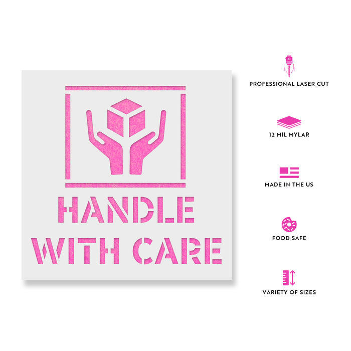 Handle With Care Symbol Stencil