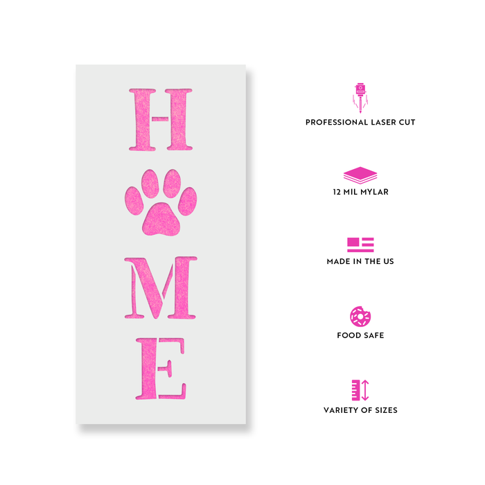 Home Paw Print Vertical Sign Stencil