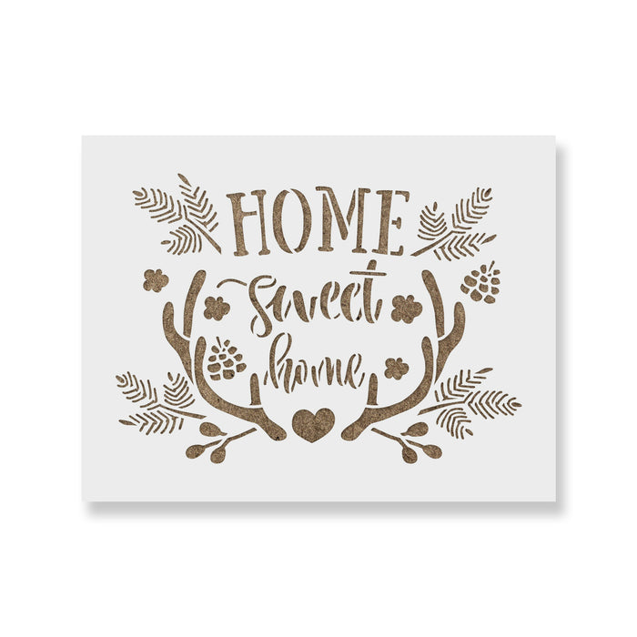 Home Sweet Home Antler Heart Stencil