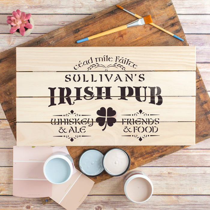 Irish Pub Whiskey Ale Friends Food Sign Stencil