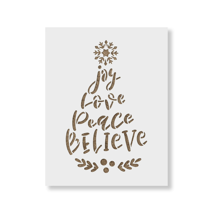 Joy Love Peace Believe Snowflake Laurel Stencil