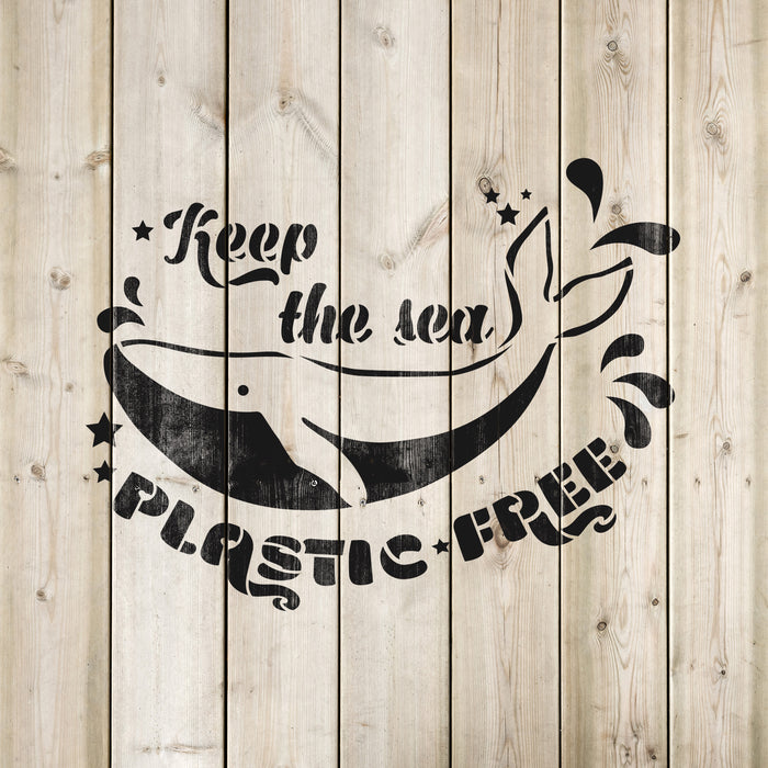 Keep The Sea Plastic Free Stencil