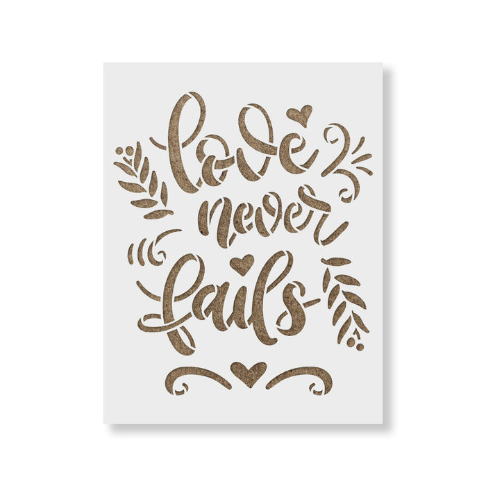 Love Never Fails Sign Stencil