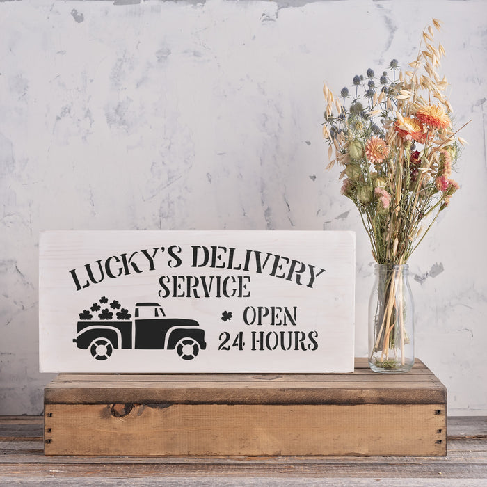 Lucky's Delivery Irish Shamrocks Sign Stencil