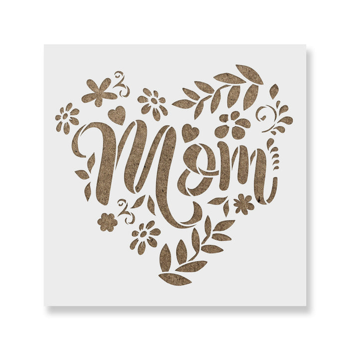 Mom Heart Mothers Day Stencil
