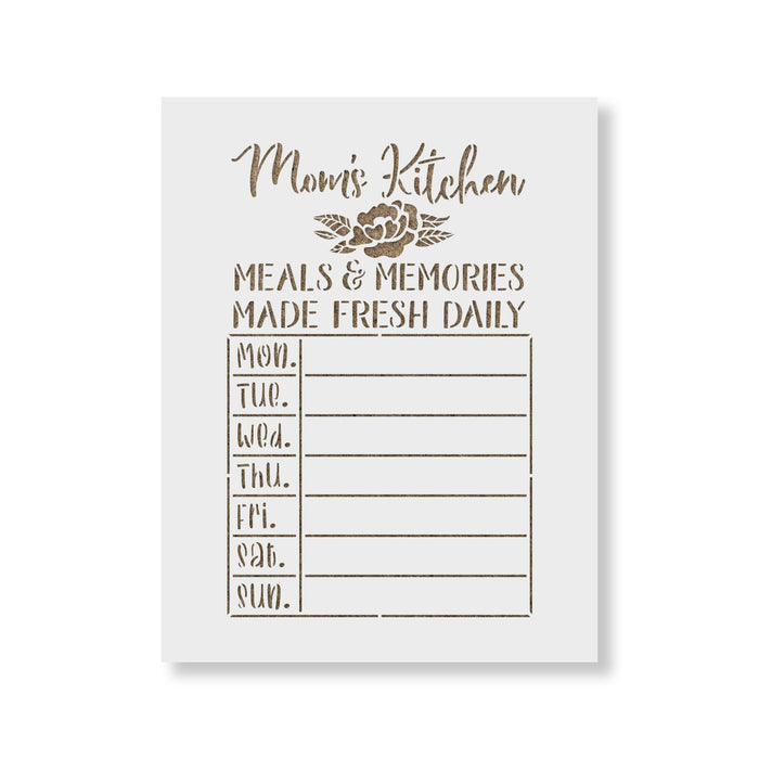 Moms Kitchen Meals Calendar Stencil