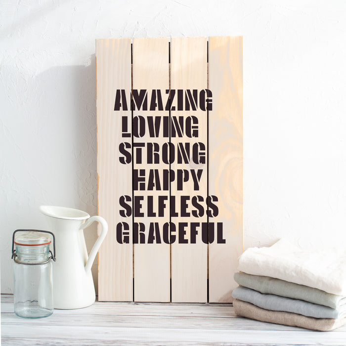 Mothers Day Amazing Love Strong Word Puzzle Stencil