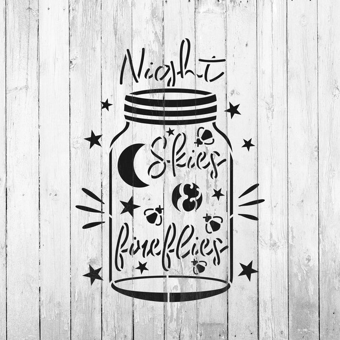 Night Skies Firefly Jar Stencil