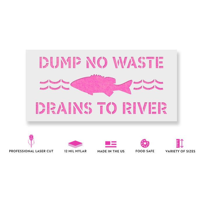 No Dumping Drains to River Stencil