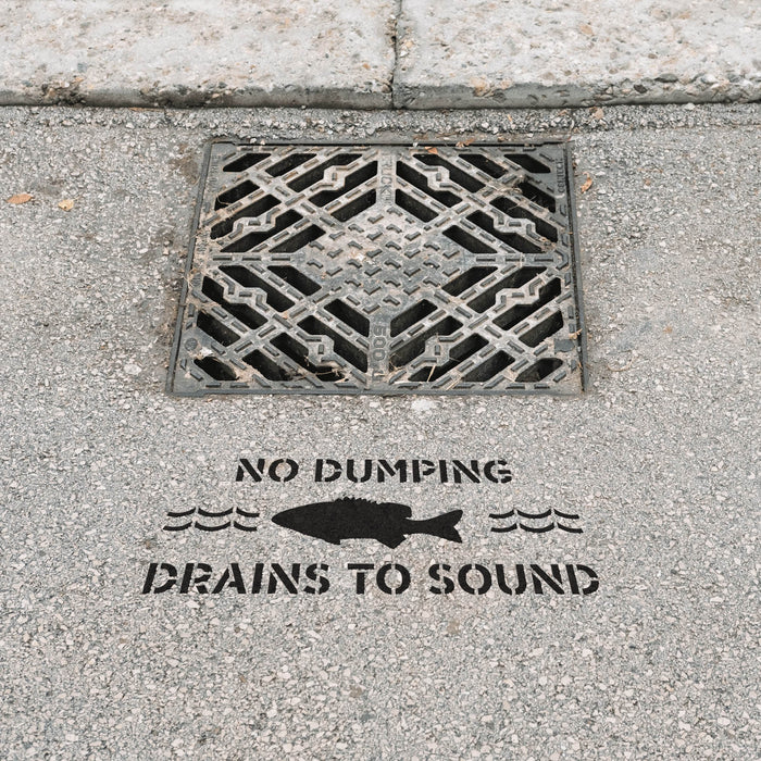 No Dumping Drains to Sound Stencil