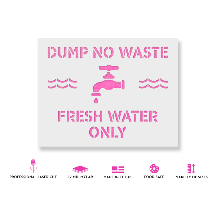 No Dumping Fresh Water Only Stencil