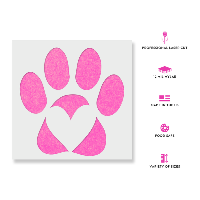 Paw Print With Heart Stencil