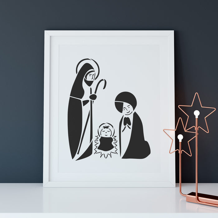 Retro Nativity Stencil