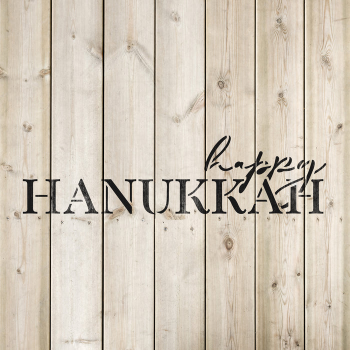 Simple Happy Hanukkah Stencil